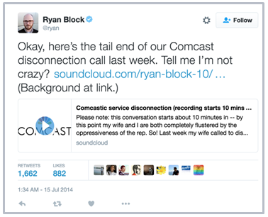 Ryan Block shares his Comcast recording on Twitter